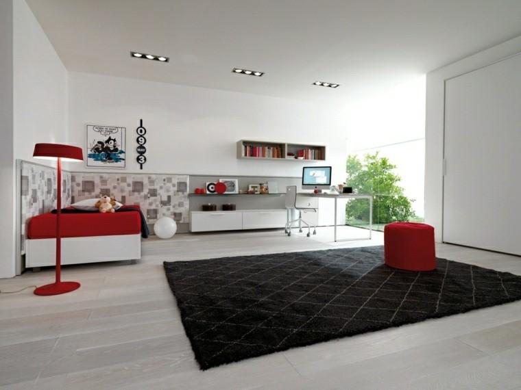 dormitorio juvenil ideas chico original alfombra negra ideas