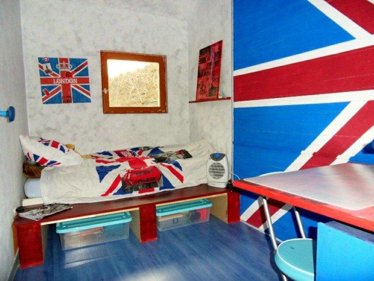 dormitorio juvenil ideas chico original bandera inglaterra moderno