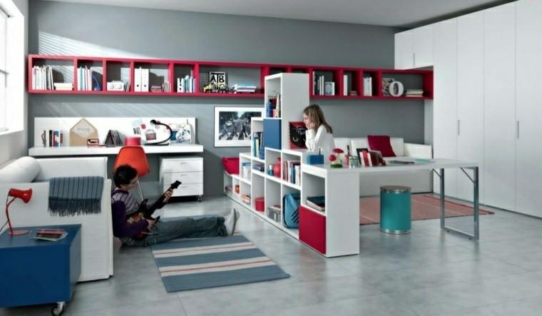 dormitorio juvenil ideas chico original blanco rojo moderno