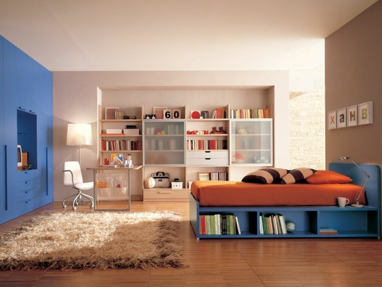dormitorio juvenil ideas chico original cama armario azul moderno