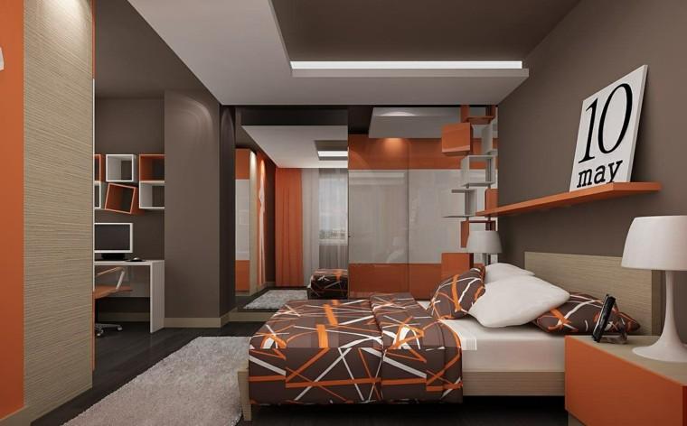 dormitorio juvenil ideas chico original estante naranja moderno