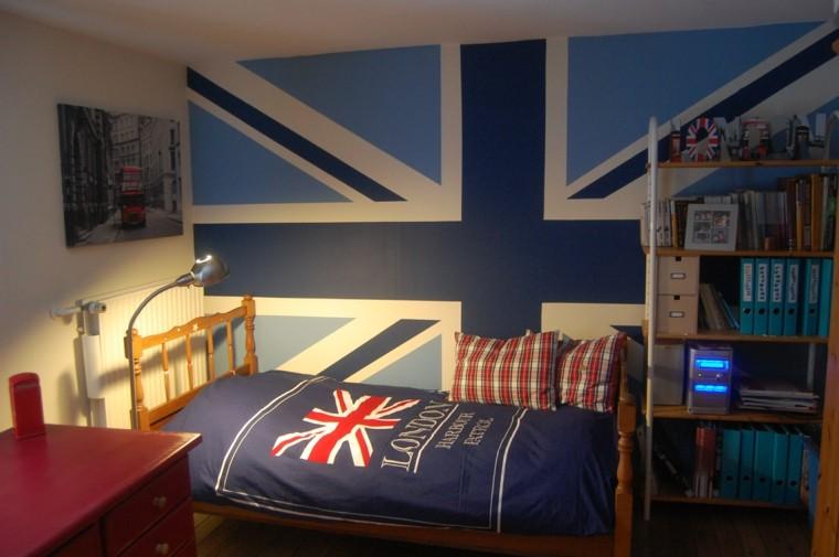 dormitorio juvenil ideas chico original pared azul moderno