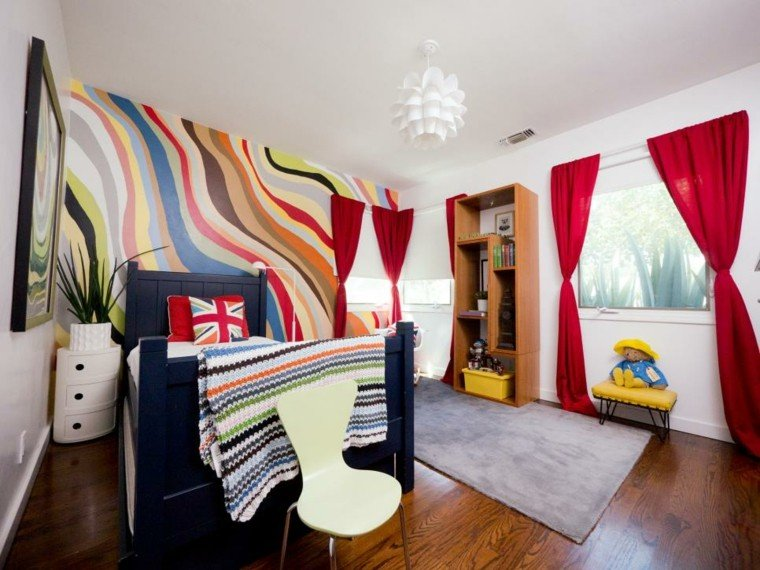 dormitorio juvenil ideas chico original pared colores arcoiris moderno