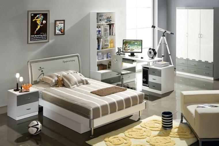 dormitorio juvenil ideas chico original paredes gris moderno