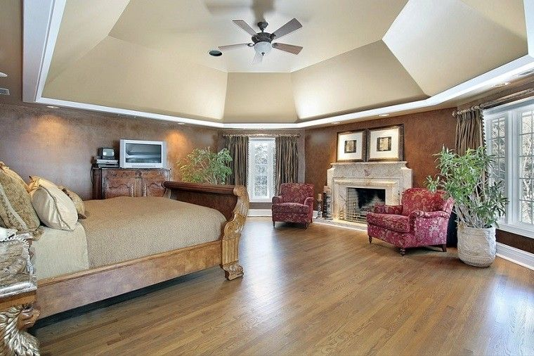 dormitorio moderno paredes color otoño acogedor chimenea ideas