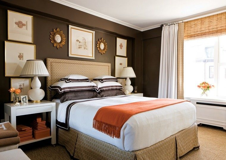 dormitorio moderno paredes color otoño acogedor elegante ideas