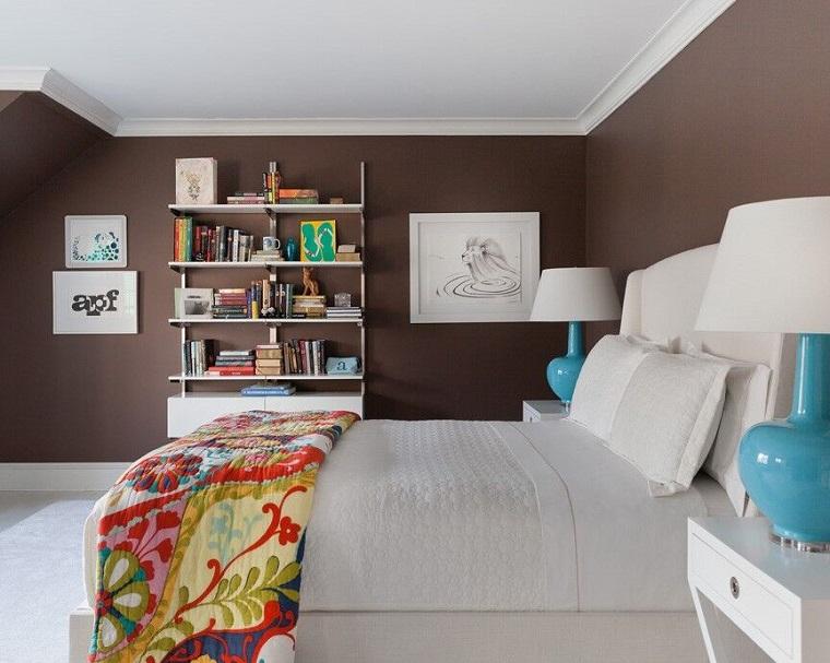 dormitorio moderno paredes color otoño acogedor estanterias ideas