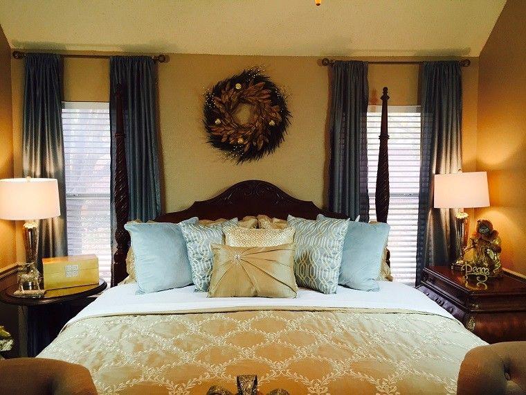 dormitorio moderno paredes color otoño acogedor guirnalda ideas