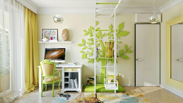 dormitorio juvenil original diseño verde