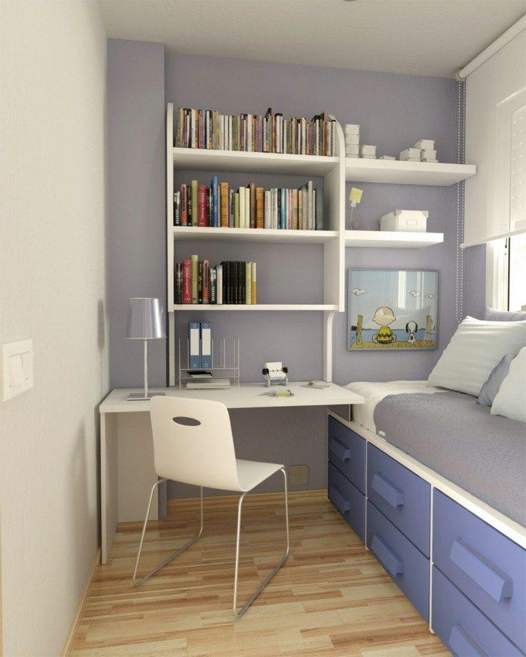 dormitorio pequeño color gris lavanda