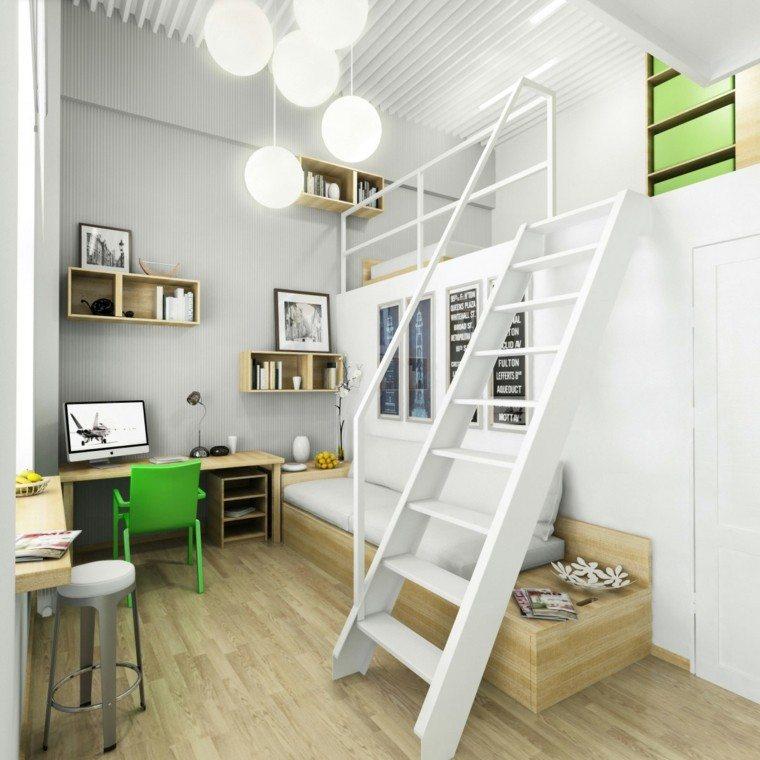 dormitorios juveniles chico original blanca escalera ideas