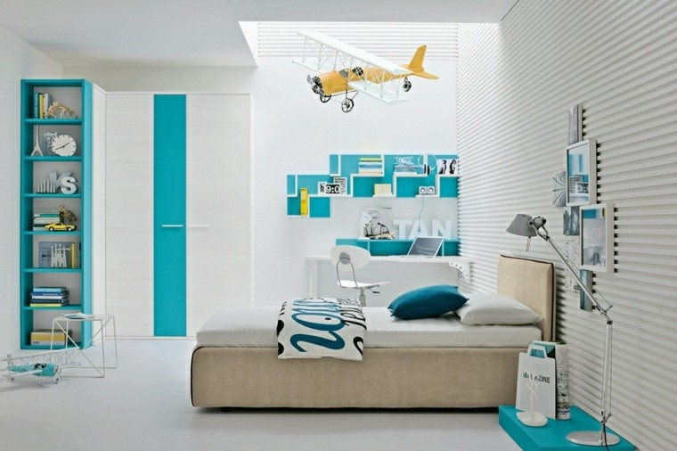 dormitorios juveniles chico original blanco azul claro ideas