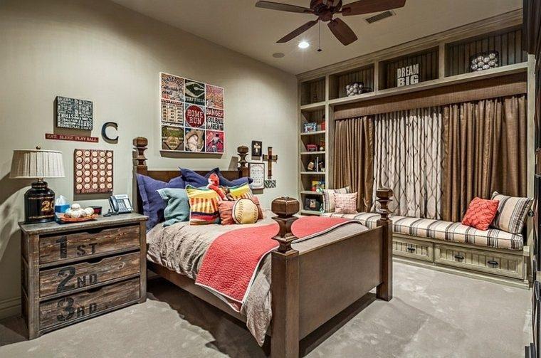 dormitorios juveniles chico original cama armario madera ideas