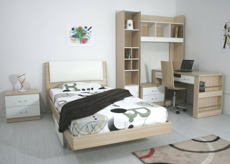 dormitorios juveniles chico original cama escritorio madera ideas