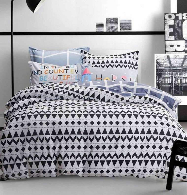 dormitorios juveniles chico original cama grande ropa motivos geometricos ideas