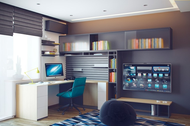 dormitorios juveniles chico original espacio estudio escriotio blanco ideas