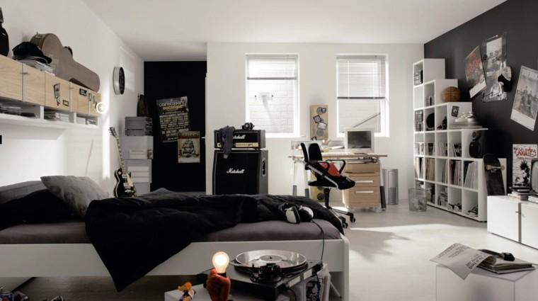 dormitorios juveniles chico original estantes blancos ideas