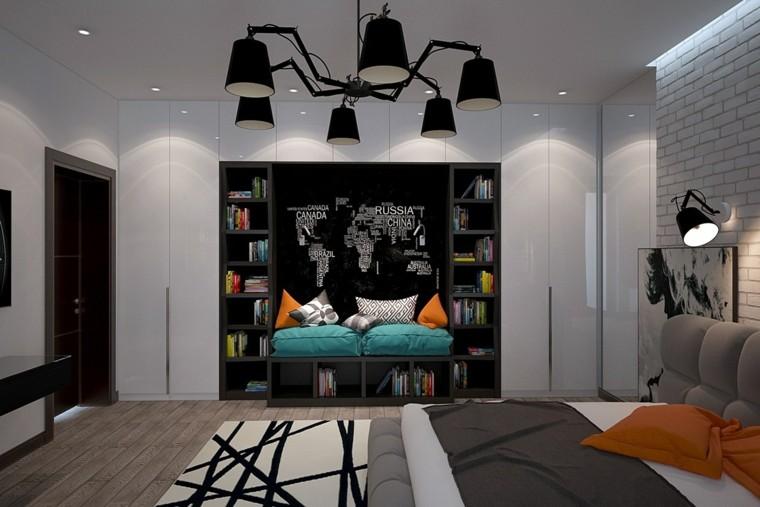 dormitorios juveniles chico original estantes negros ladrillo ideas