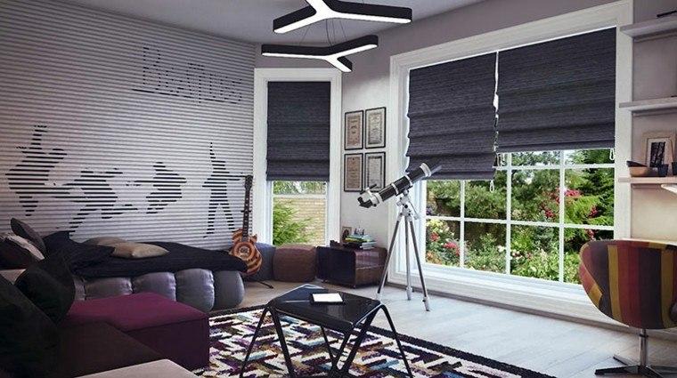 dormitorios juveniles chico original estores negros ventanas ideas