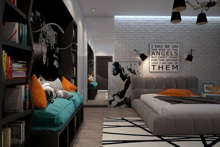 dormitorios juveniles chico original ladrillo blanco pared ideas
