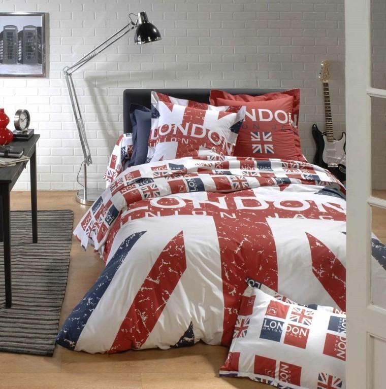 dormitorios juveniles chico original ropa cama estampa londres ideas