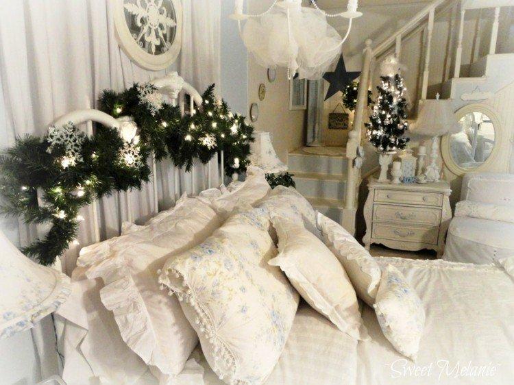 dormitorios navidad encanto coronas blanco nieve