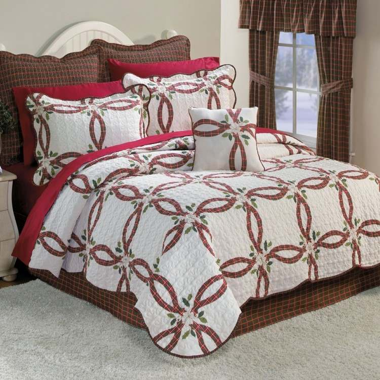 dormitorios navidad encanto coronas textiles cama