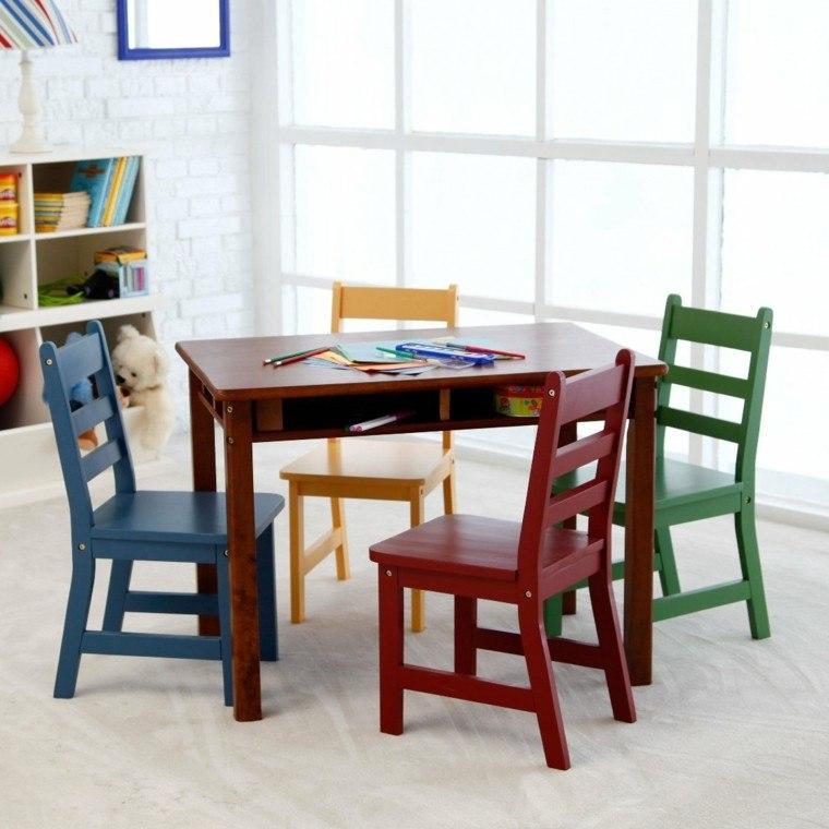 escritorios infantiles sillas madera