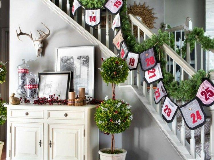 escalera decorada diseño numeros ciervo