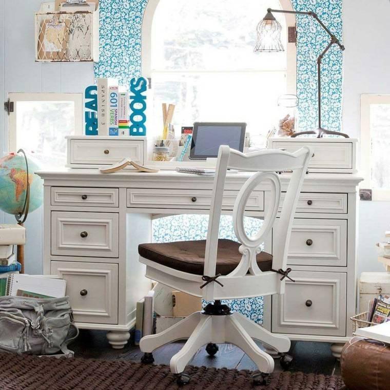 escritorio color blanco estilo retro