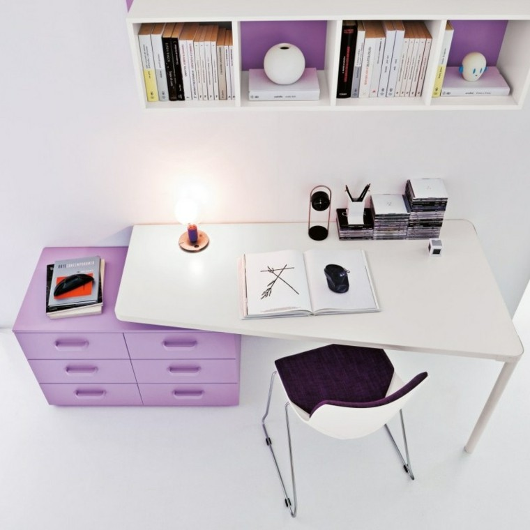 escritorio moderno blanco cajones lila