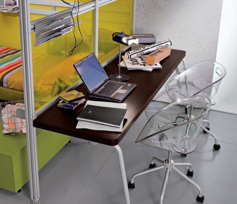 escritorio juvenil dos sillas transparentes