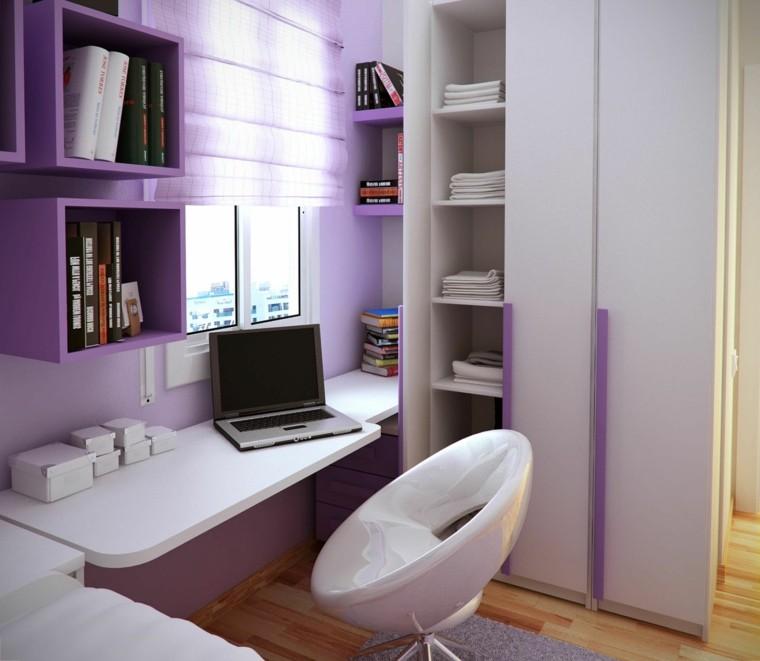escritorio moderno colores blanco lila
