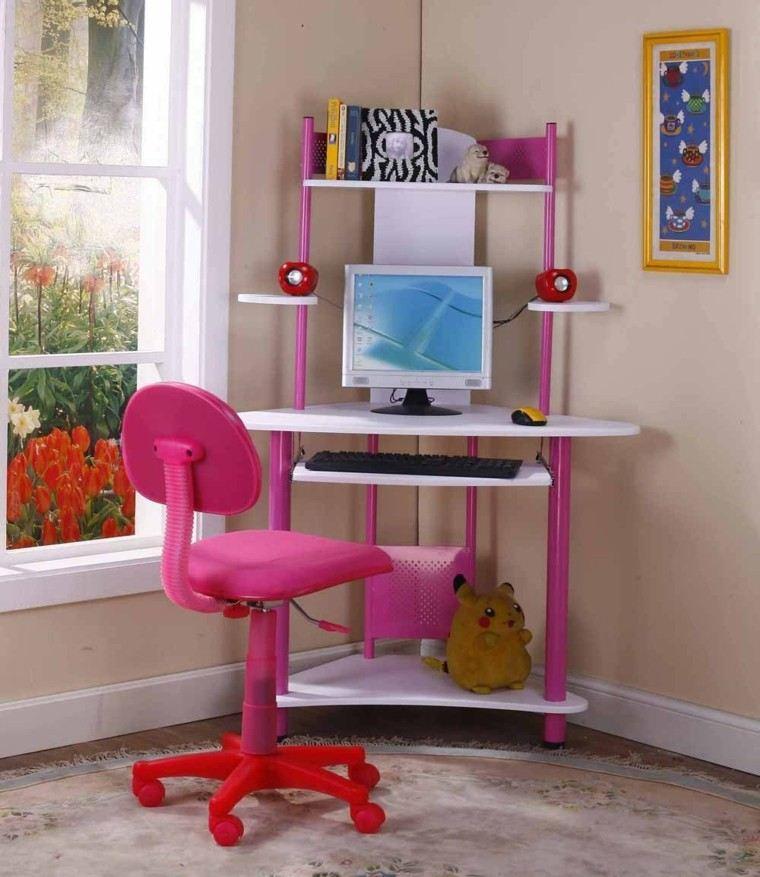 escritorio infantil forma esquina rosa