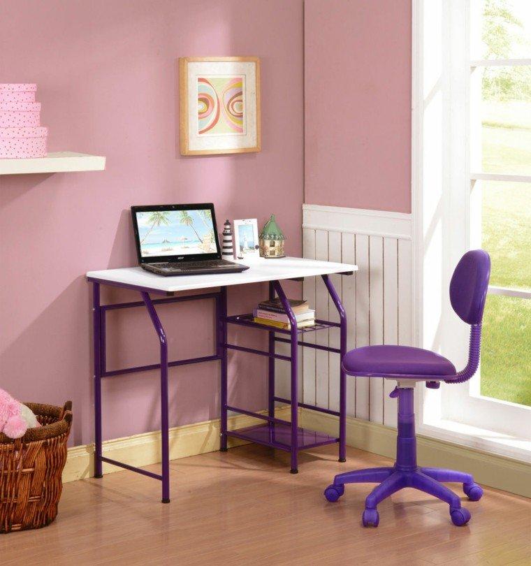 escritorio juvenil mesa patas moradas
