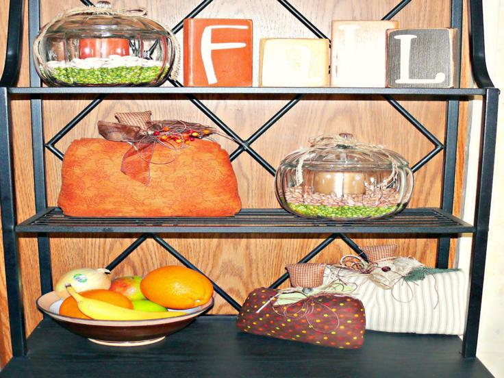 estante cocina adornos otoño frutas