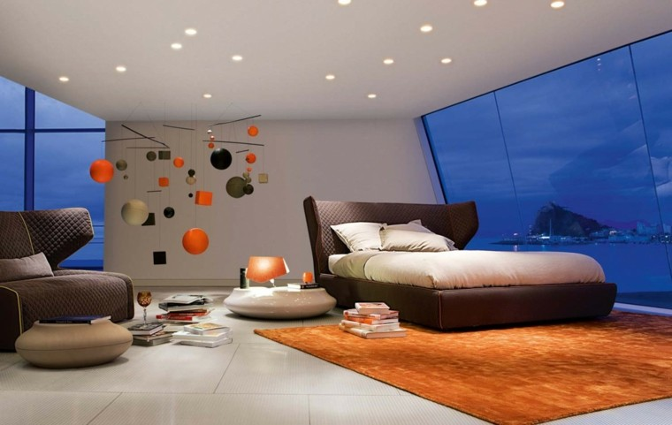estilo dormitorio masculino elegante moderno alfombra naranja ideas