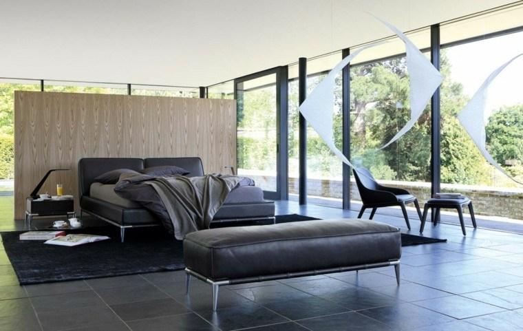 estilo dormitorio masculino elegante moderno banco cuero negro ideas