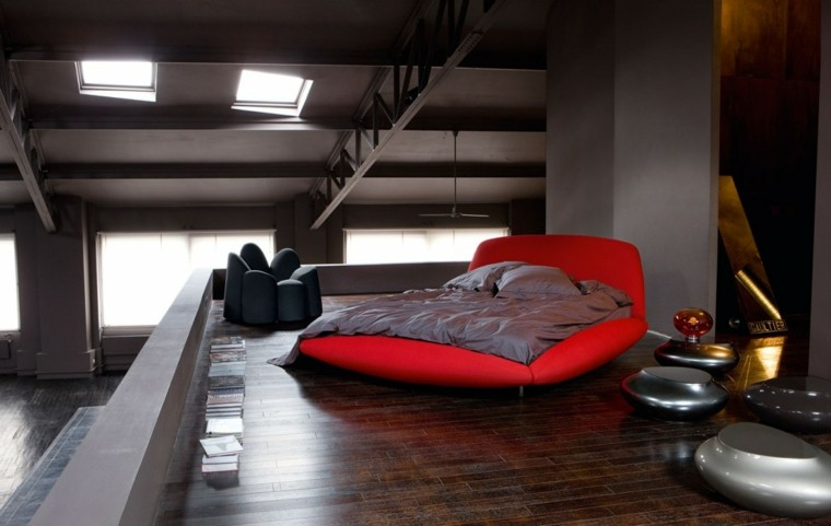 estilo dormitorio masculino elegante moderno cama roja ideas