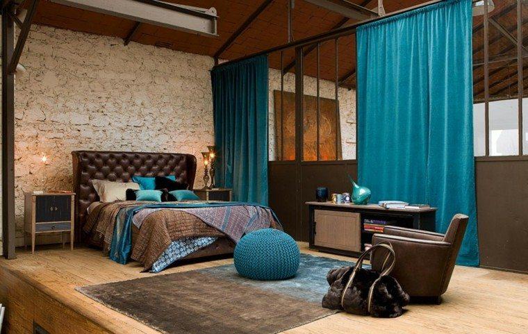 estilo dormitorio masculino elegante moderno cortinas azules ideas