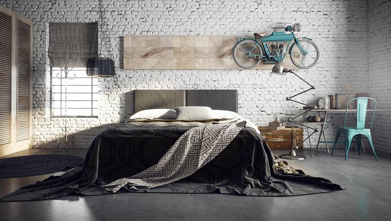 estilo dormitorio masculino elegante moderno moto flotante ideas