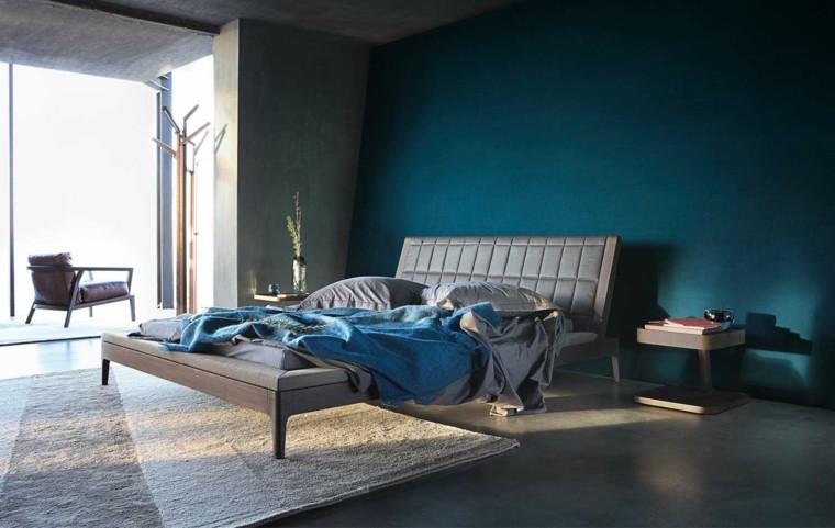 estilo dormitorio masculino elegante moderno pared azul oscuro ideas