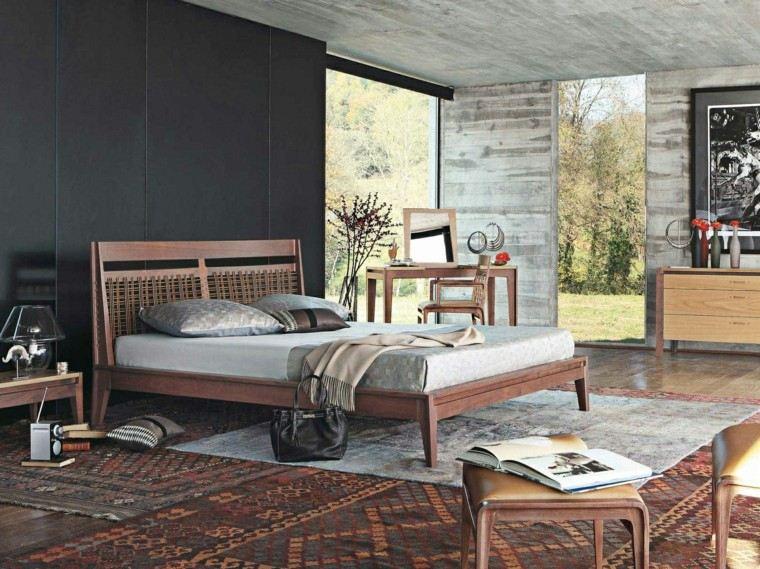 estilo dormitorio masculino elegante moderno pared negra ideas