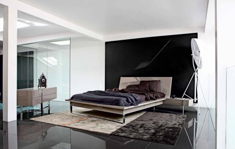 estilo dormitorio masculino elegante moderno paredes negro blanco ideas
