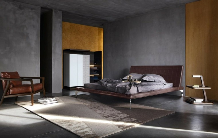 estilo dormitorio masculino elegante moderno sillon cuero ideas