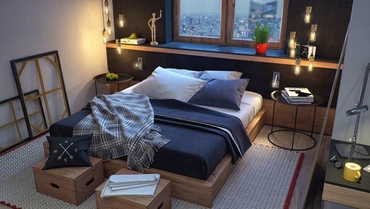 estilo dormitorio masculino moderno cama madera ideas