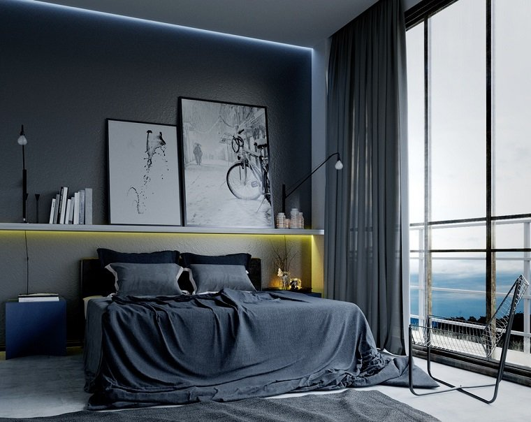 estilo dormitorio masculino moderno cortinas grises largas ideas