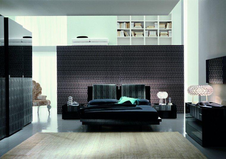 estilo dormitorio masculino moderno interior elegante cama negra ideas