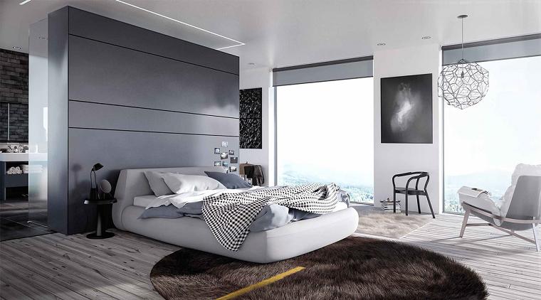 estilo sexy dormitorio masculino moderno reloj alfombra piel ideas