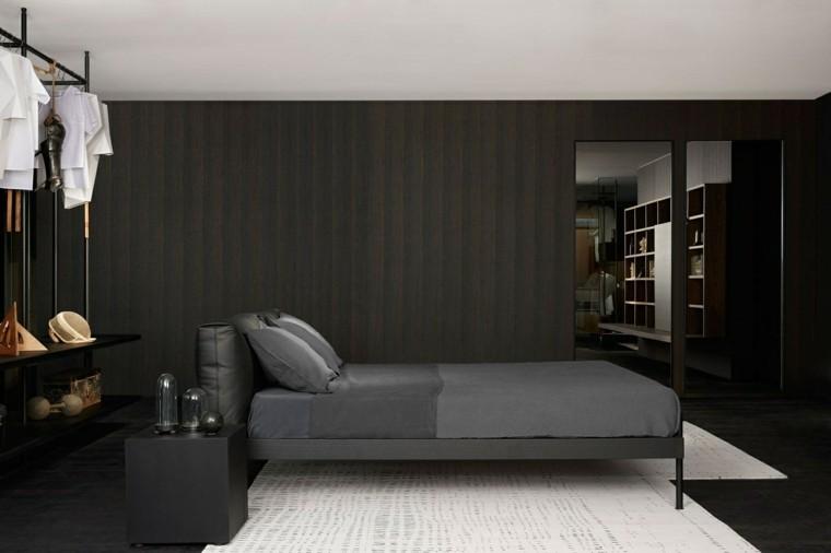 estilo sexy dormitorio masculino moderno reloj ropa cama gris ideas